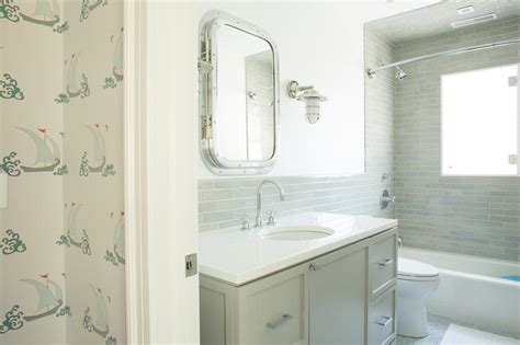 nautical medicine cabinet white and gray master bathroom with schumacher haiku sisal