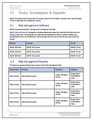 Risk Management Plan Template 24 Pg Ms Word Free Excel Templates Risk Management Plan Template