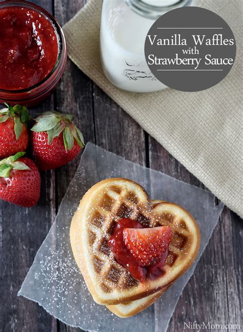 strawberry sauce recipe for waffles shaped vanilla waffles with strawberry sauce