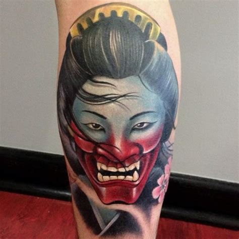 tattoo geisha face calf demon geisha tattoo by underworld tattoo supplies