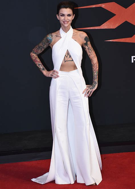 ruby rose stuns in a white jumpsuit on the red carpet