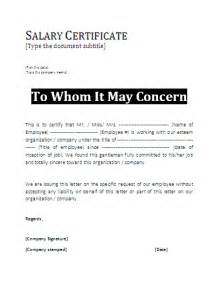 Sle Salary Certificate Letter Doc 9 Format For Salary Certificate Graphic Resume