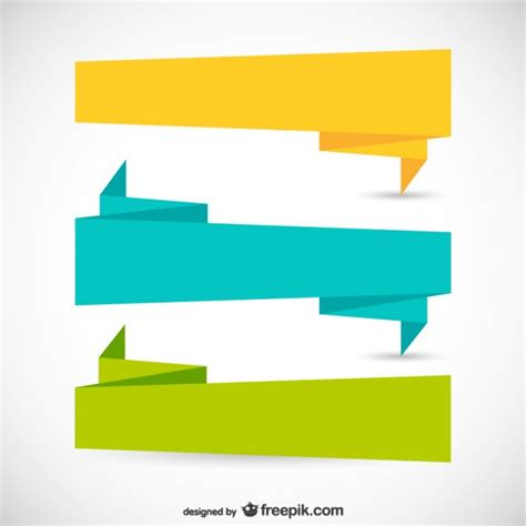 Origami Graphic Design - origami ribbons in different colors vector free