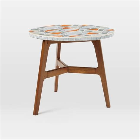 Tile Bistro Table Mosaic Tiled Bistro Table Mid Century Orange Top West Elm