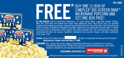 cineplex voucher canadian coupons cineplex big screen snax microwave