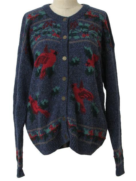 Sweater Print 14 Cardinal Print Sweater Cardigan With Buttons