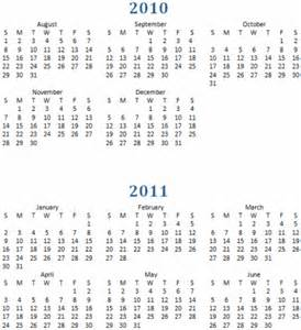 Printable calendar year at a glance 2010 2011 one page academic