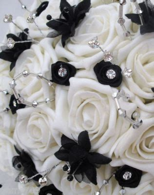 wedding flowers posy bouquet in ivory black silver