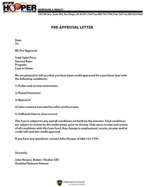 preapproval letter hooper mortgage and realty