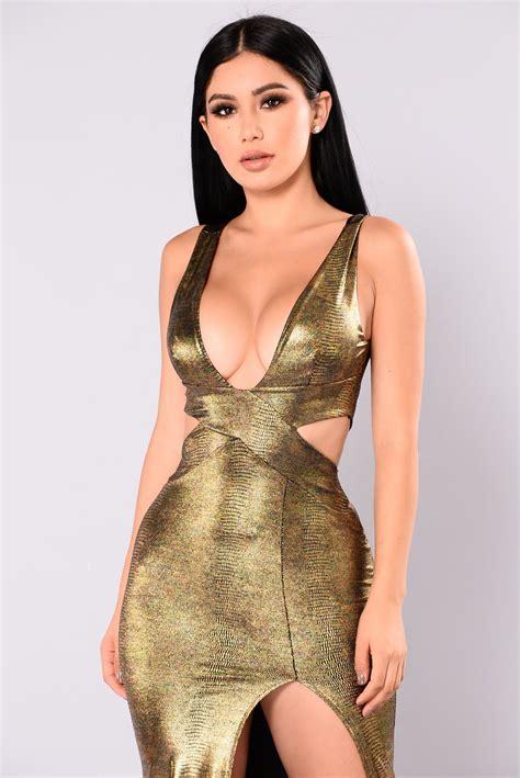Gold Dresses Make Holidays Nicer by Going On Slit Dress Gold