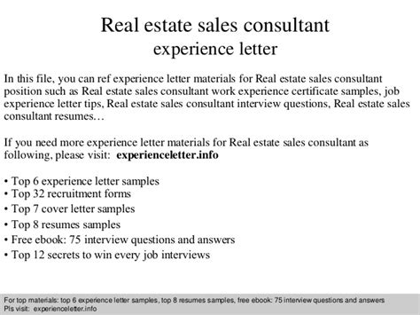 Real Sales Consultant Cover Letter by Real Estate Sales Consultant Experience Letter