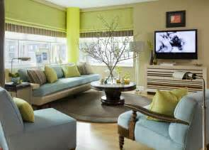 Green grey and blue living room