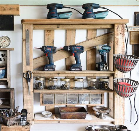 Garage Shelving From Pallets From A Lowly Pallet To The Ultimate Tool Storage Shelf