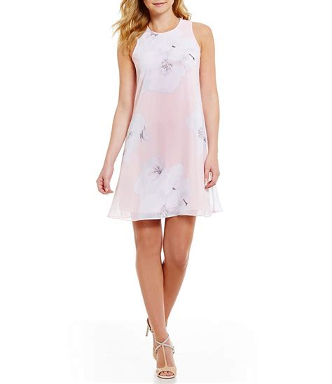 Ck Trapeze calvin klein floral print chiffon trapeze dress dillards