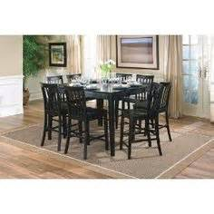 9pcs contemporary walnut counter height dining table 8 stools set gallery