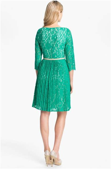 eliza j belted lace fit flare dress in green teal lyst