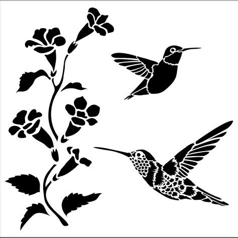 printable hummingbird stencils simple hummingbird coloring pages