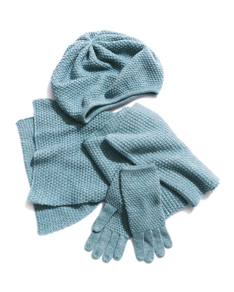 portolano popcorn stitched shimmer scarf in blue lyst