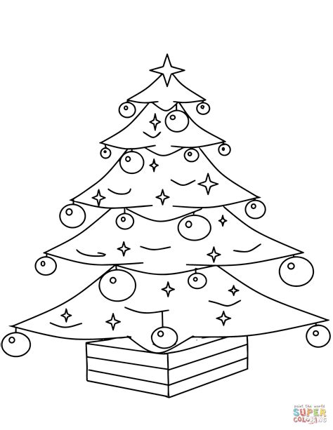 tree decorations coloring pages christmas tree with ornaments coloring page free