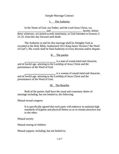 marriage contract template business mentor