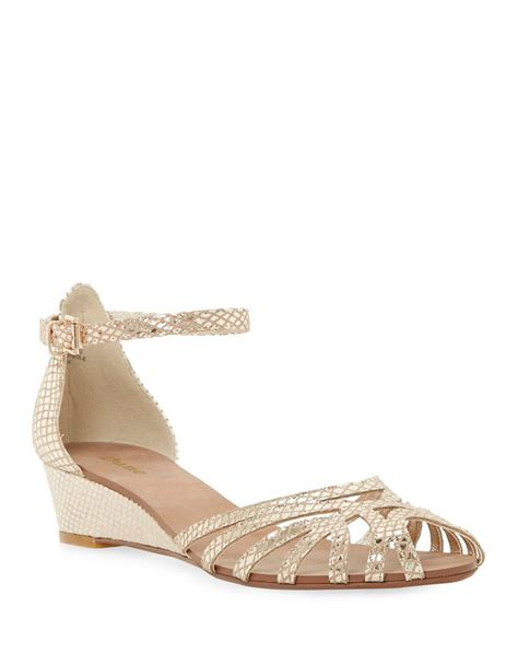 dune knightly leather low wedge sandals in lyst