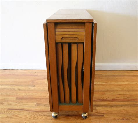 Folding Table With Chair Storage Mid Century Modern Gateleg Table With Chairs Picked Vintage