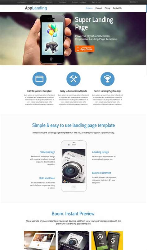 app landing page template free 30 free responsive landing page templates 2015