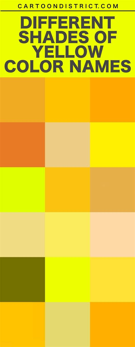 shades of yellow names 25 different shades of yellow color names