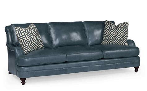 mahogany and more seating aleah blue genuine leather sofa