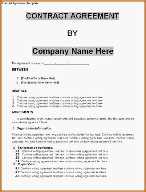 Agreement 4 Letter Word Contract Agreement Template Contract Agreement Sle 23 Png Letter Template Word