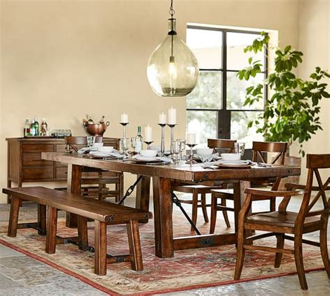 pottery barn kitchen table with bench benchwright extending dining table bench set pottery barn