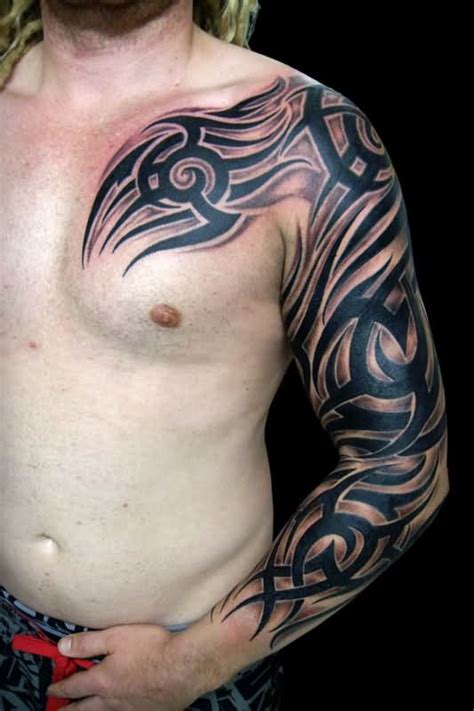 tribal chest to arm tattoo sleeve images designs