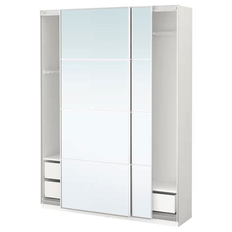 Ikea Wardrobes With Mirror by Pax Wardrobe White Auli Mirror Glass 150x44x201 Cm Ikea