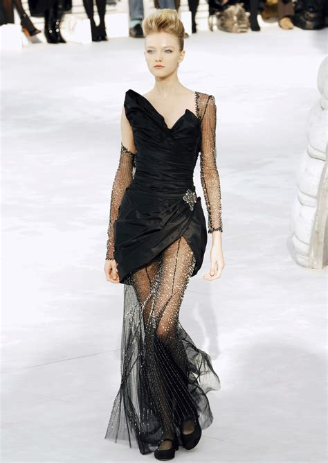 My For The Sweater Dress Couture In The City Fashion by Chanel Black Taffeta Dress Embellished Chiffon I D
