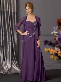 Line long purple chiffon beaded mother of the bride dress with jacket
