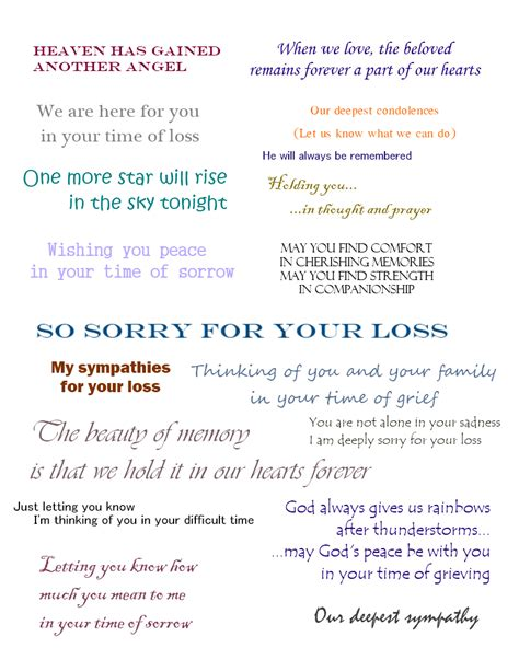 verses for sympathy cards that express your deepest condolences