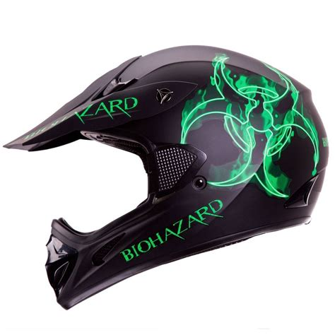 motocross helmet biohazard matte black motocross motorsport atv dirt bike