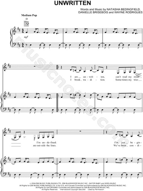 printable lyrics to unwritten natasha bedingfield quot unwritten quot sheet music in d major