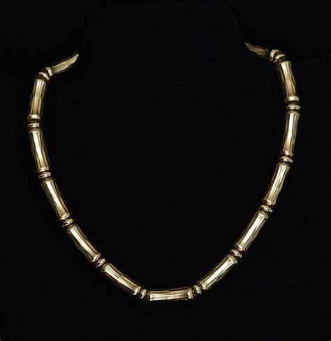 Mini Dress J213 ciner bamboo like brushed metal gold tone necklace