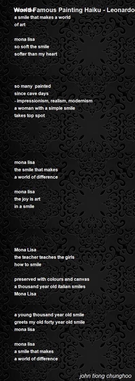 leonardo da vinci bio poem world famous painting haiku leonardo da vinci s mona