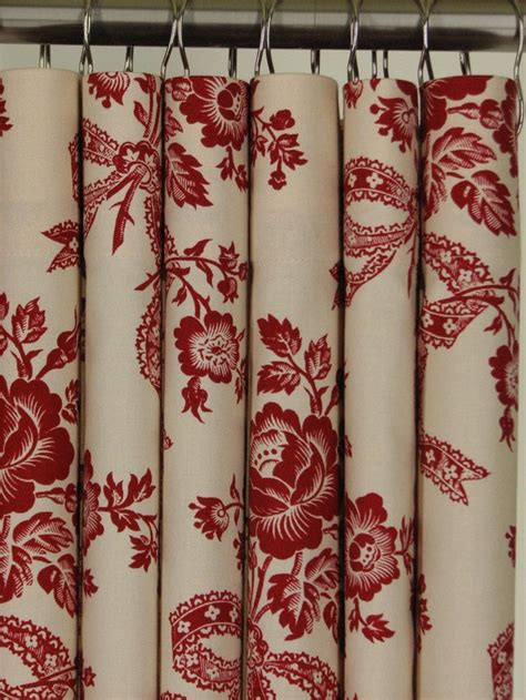 red and black floral curtains red beige floral shower curtain 72 long 119 99 via