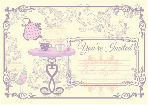 tea card template customize 7 blank invitations free editable psd ai vector