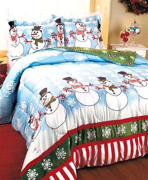 snowman snowflake party christmas comforter bedding set