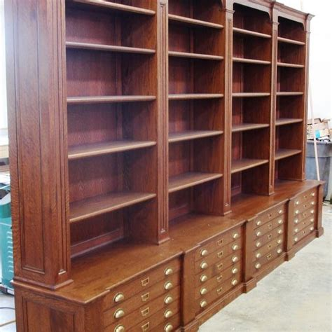 custom made bookcase with map drawers by chatsworth