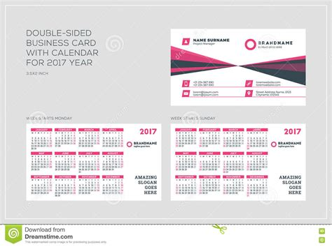free business card calendar template 2015 sided business card template with calendar for 2017