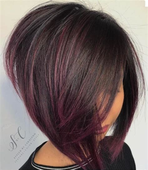 short bobs layer an the fourth an cherry an blond color purple highlights on dark brunette base angled bob short