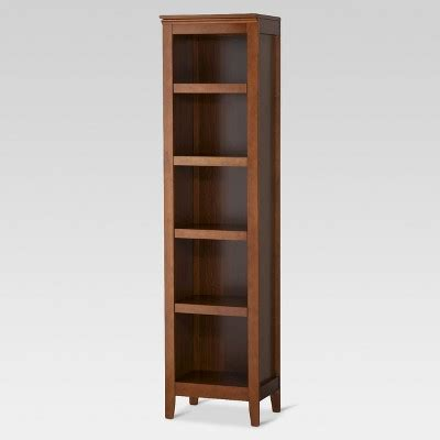 narrow bookcase espresso carson 5 shelf narrow bookcase espresso threshold target