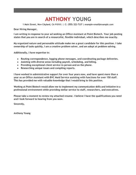 leading professional office assistant cover letter exles resources myperfectcoverletter