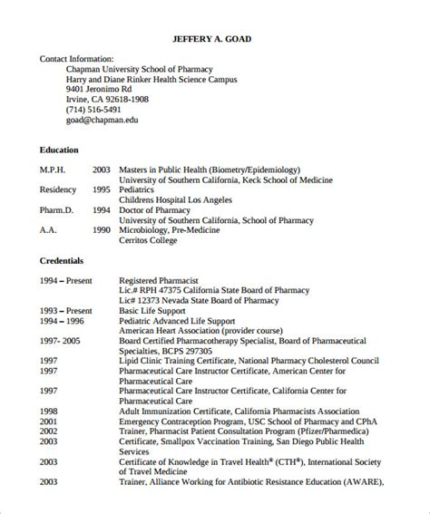 Pharmacist Resume Sle Free 28 Pharmacist Resume Exles Sle Of Pharmacy Technician Resume Sle Resumes Pharmacy Resume Sle