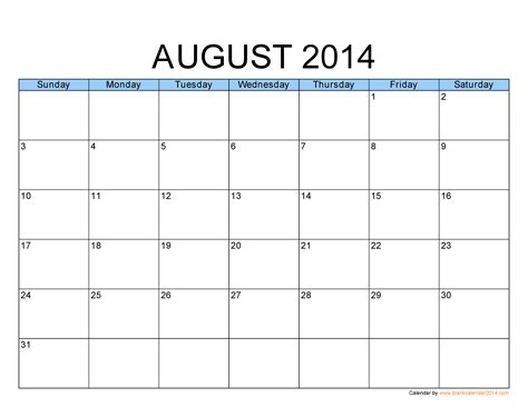 printable calendar august image gallery kalender august 2014